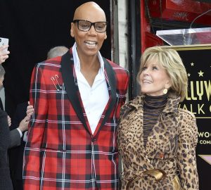 RuPaul celebrates his star on the Hollywood Walk of Fame with Jane Fonda