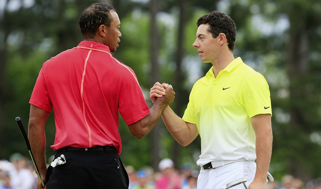 Tiger Woods and Rory McIlroy (Photo by Jamie Squire/Getty Images)