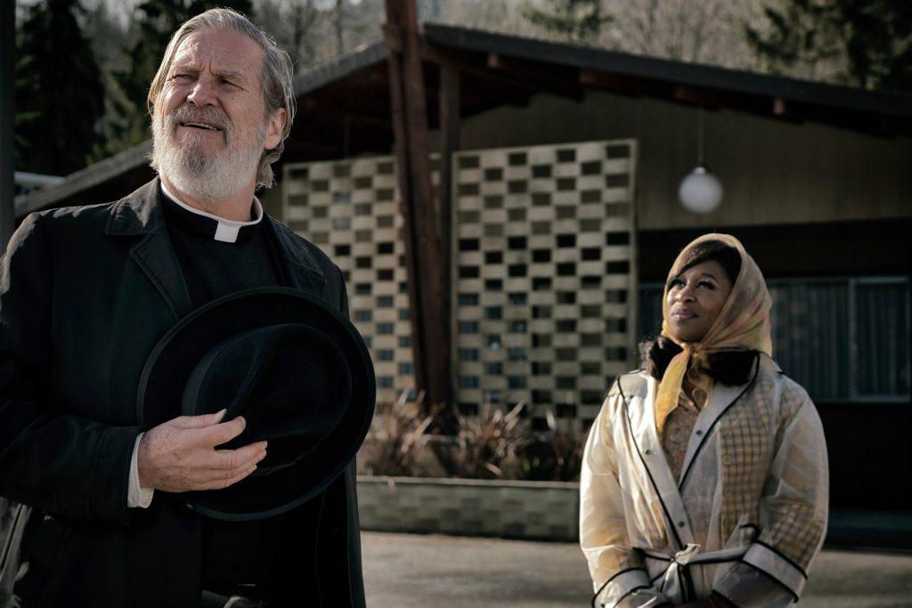 Jeff Bridges as Father Daniel Flynn and Cynthia Erivo as Darlene Sweet