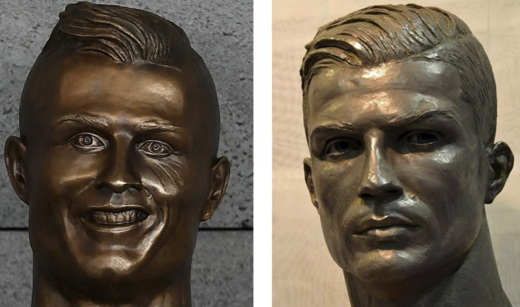 Christiano Ronaldo's old and new busts