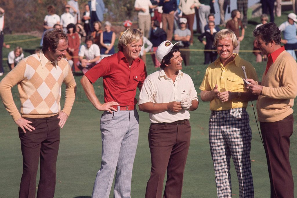 Four men on golf course in 1970